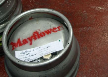 Keg of Mayflower beer