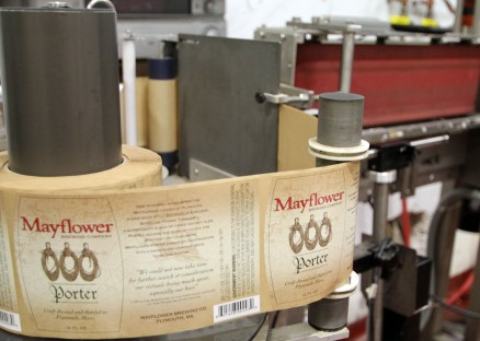Porter labels on the bottling line