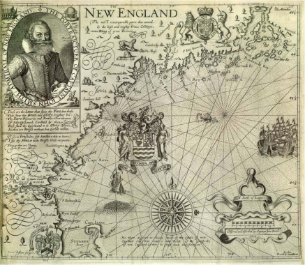 John Smiths 1616 New England map